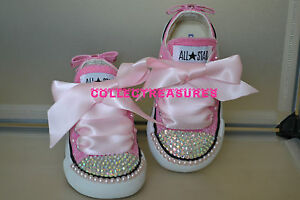 3 Crystal 6 Converse 10 4 Bnib Bling Diamante 2 7 Pink 9 8 Personalizzato Infant Uk 5 5qH7z