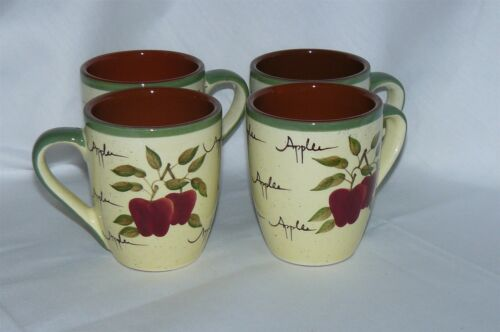 """Set of 4 Home Interiors Apple Orchard Collection Mugs Coffee Cups 4/"""" EUC"""