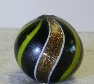 #12191m Large .78 Inches Black Base Banded Lutz German Handmade Marble