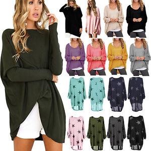 Oversize-Damen-Lose-Pullover-Pulli-Bluse-Tunika-Tops-T-Shirt-Longshirt-Oberteile