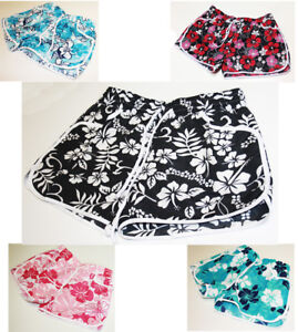 New-Ladies-Womens-Girl-Floral-Flower-Print-Beach-Board-Swimming-Hot-Pants-Shorts
