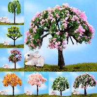 Miniature Sakura Tree Plants Fairy Garden Accessories Dollhouse Ornament Decor