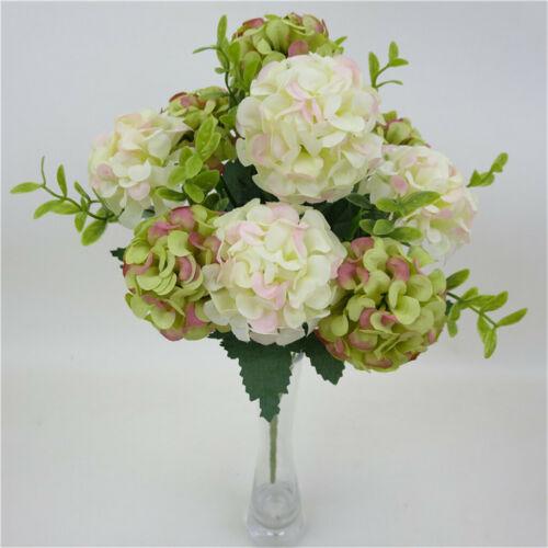 10 Köpfe Künstlich Hortensie Kunstseide Blumen Hochzeitsparty Wohn Deko