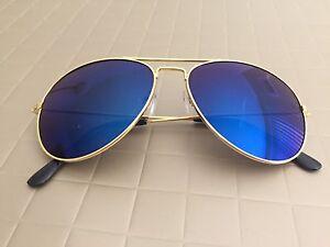 8b11f19589a Hot BLUE Mirror Lens Aviator Sunglasses Vintage New Men Women Gold ...