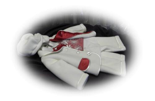 Taufe Hochzeit Babyanzug Taufanzug Ecru//Bordeaux Größe 62-86 NEU 6-Tlg