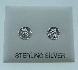 Image Is Loading Sterling Silver St Christopher Flat Stud Earrings