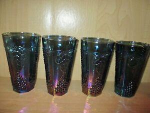 4-Vintage-Indiana-Blue-Carnival-Glass-Tumblers-Harvest-Grape