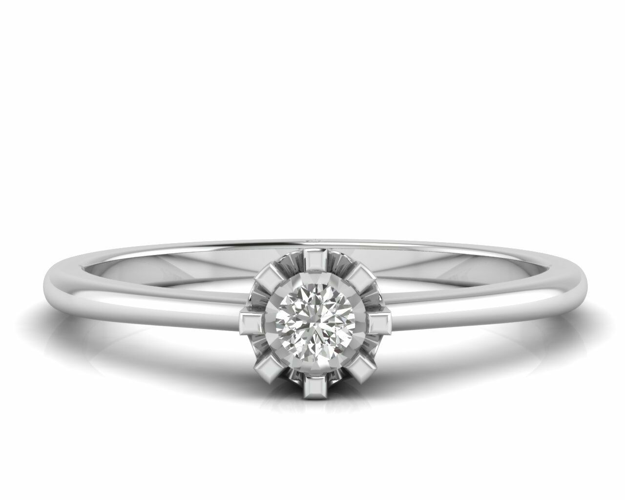 Illusion Head Round Brilliant Cut Diamond Engagement Ring in White & Yellow gold