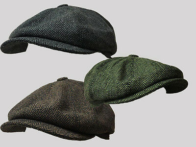 G/&H LIGHT GREY 8 PANEL,BAKER BOY,NEWSBOY,PEAKY BLINDER 1920S WOOL FLAT CAP