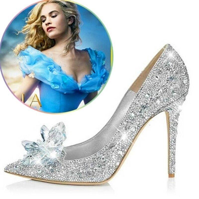 mode Femmes Esvoiturepins Cendrillon Diamond Crystal Chaussures Fête De Mariage Chaussures