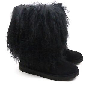 1bc92b59f06 Details about UGG Australia Lida Mongolian Sheepskin Suede Black Furry  Boots 1017516 US 5 NEW