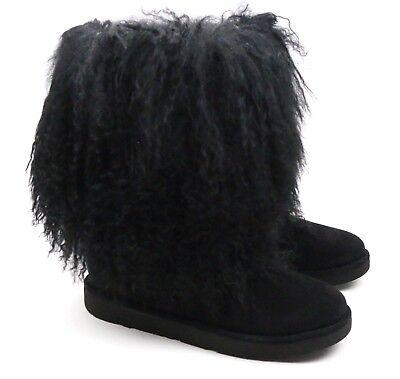 c701a580f49 UGG Australia Lida Mongolian Sheepskin Suede Black Furry Boots 1017516 US 5  NEW | eBay