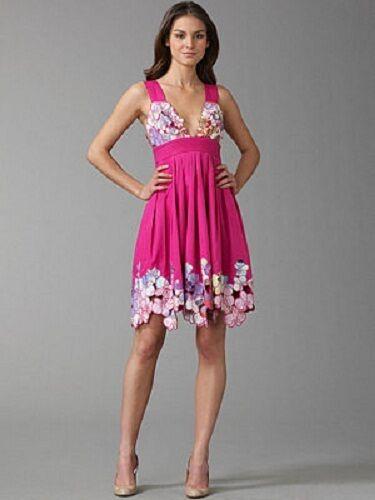 Neuf avec étiquettes  495 CATHERINE MALANDRINO Rose sambala Cut-Out broderie robe de coton 6