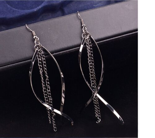 Para Mujeres Elegante Negro Gota Colgante Cadena Larga Borla Earrings Joyas Regalo UK