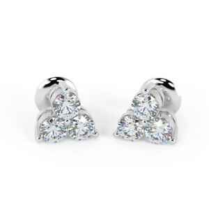 7e663cb61ddc8 Details about 0.40 ct 3 Round Diamond Stud Earrings, 18k White Gold UK  Hallmarked
