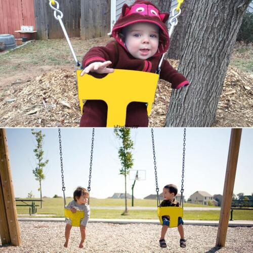 Outdoor Kids High Back Full Bucket Swing Seat With Coated Chain Garden~