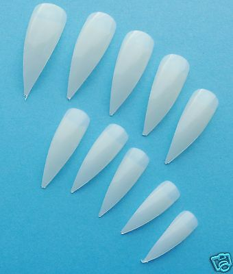 """500 NATURAL CURVED Long Stiletto Point Salon False NAIL TIPS from """"Pink Candy"""""""