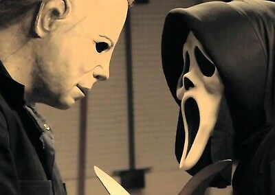 MICHAEL MYERS & SCREAM GHOST FACE HALLOWEEN 8X10 MOVIE PHOTO PICTURE #009