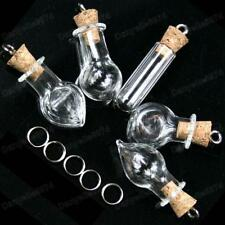 5pcs GLASS BOTTLE PENDANTS cork bottles TEARDROP/ROUND/TUBE empty 3cm large vial