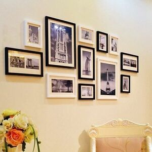 wood photo picture frame wall collage set of 12 modern