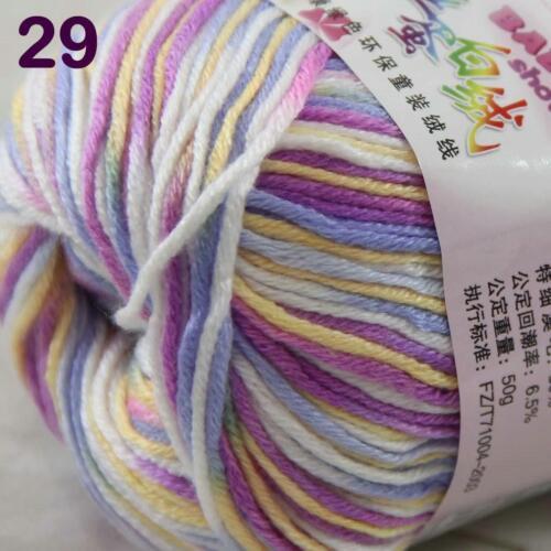 8Ball x50g  Multi-Color Cashmere Silk Wool Hand knitwear knitting Baby Yarn 29