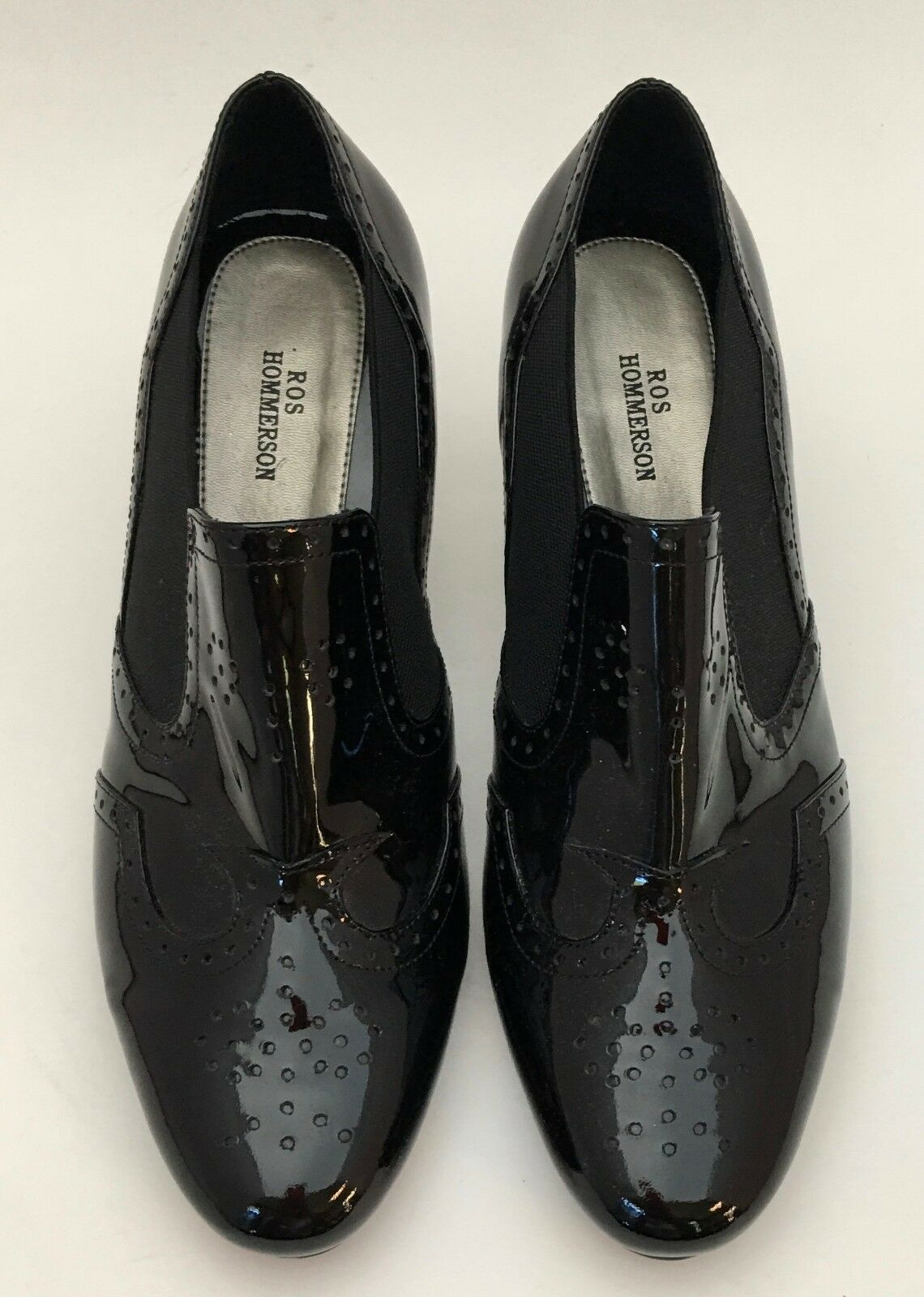 Ros Hommerson Black Patent Leather Brogue Wingtip Heels shoes Size 8 WW