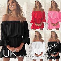 UK Womens Bandeau Holiday Dress Ladies Summer Falbala Smock Dress Size 6 - 14