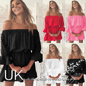 4063e499f4 Details about UK Womens Bandeau Holiday Dress Ladies Summer Falbala Smock  Dress Size 6 - 14