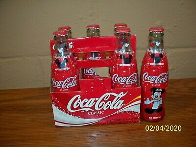 *MINT* Disney Mickey Mouse 75 InspEARations Coke Coca Cola 8 oz Bottle 6 Pack