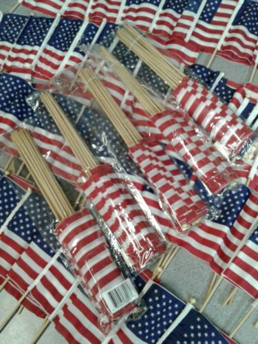 """Hand Held American Flags On Sticks 100 Pack 4""""X6"""""""