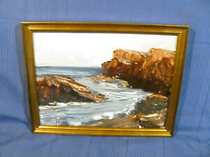 Vintage O/B Painting of Rocky Maine Coastline by Costance Laing c.1970's