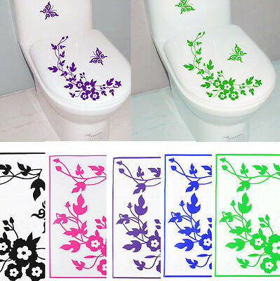Butterfly Flower Toilet  Wall Sticker Decals Vinyl Art Removable Bathroom Decor