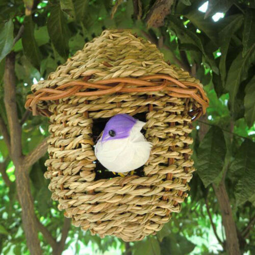 3x Bird Nest Breeding Bird Box Wild Grass Weave Canary Finch Budgie House S