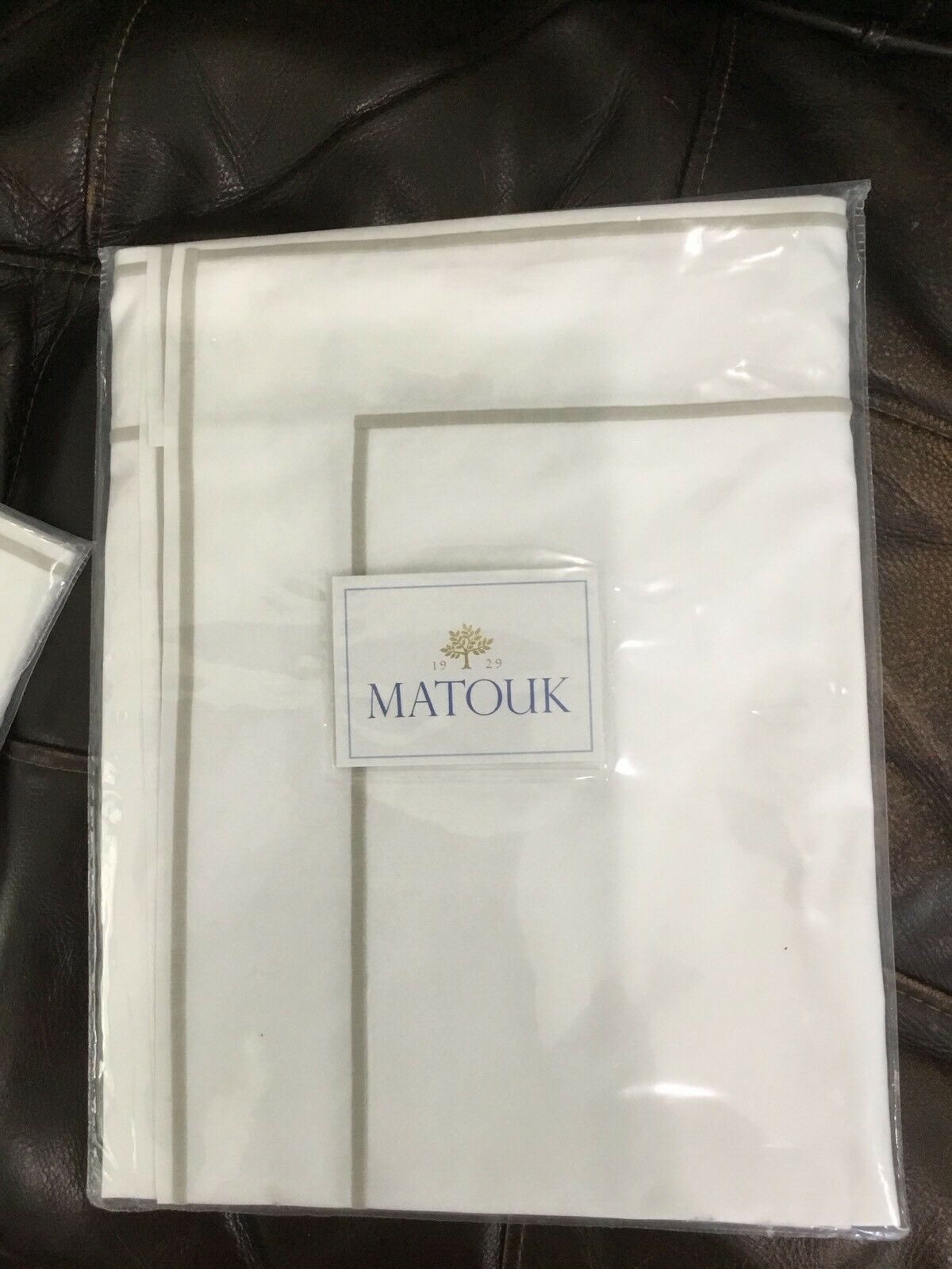 Matouk  New (1) Euro Sham 100% Percale 500TC White Beige