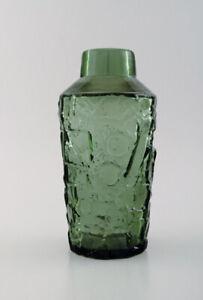 Finnish Glass Artist Vase In Green Mouth Blown Art Glass Abstract Motif Ebay