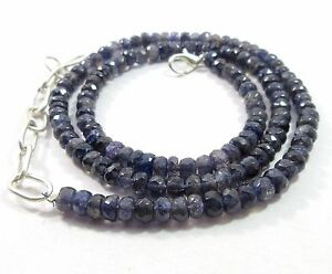 100 Crts 4.5- 5.5mm Natural Iolite Gemstone Rondelle Faceted Beads NECKLACE S118