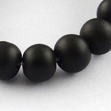 Glass Bead Strands Rubberized Round Beads Diy Black DIY Craft X-DGLA-S072-8mm-24