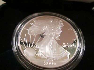 AMERICAN EAGLE SILVER DOLLAR-PROOF BOX AND COA VARIOUS YEARS FROM 1986-2004.