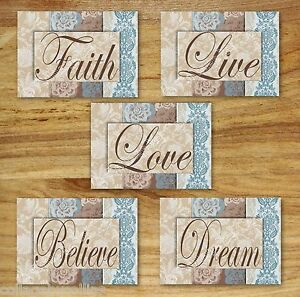 Blue Brown Tan Wall Art Print Decor DAMASK FLORAL inspirational FAITH LIVE LOVE+