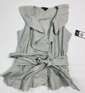 Lauren Ralph Lauren Womens Small Sleeveless Wrap Top Ruffled Pin Stripe Cotton