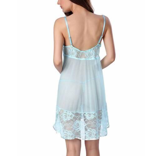 Details about  /Women Lingerie Lace Babydoll Underwear Sheer Sleepwear Nightdress Nightgown