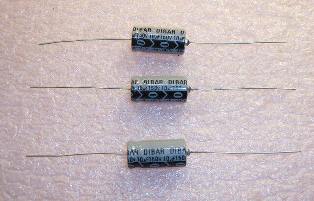 10 Aluminum Electrolytic Capacitors Leaded 100uF 25V 20/% Axial