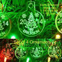 Christmas Tree Ornaments Name/yr Mini Miniature Personalized Acrylic Set Of 4