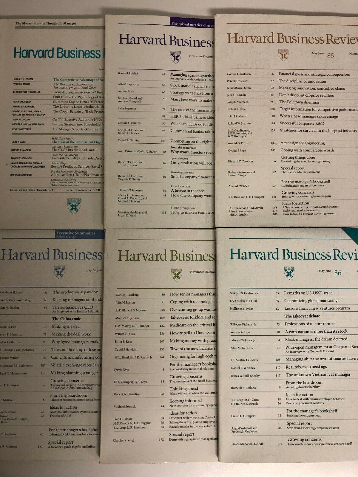 HBR Harvard Business Review Magazines, 1981 thru 1991 (Your Choice) 1