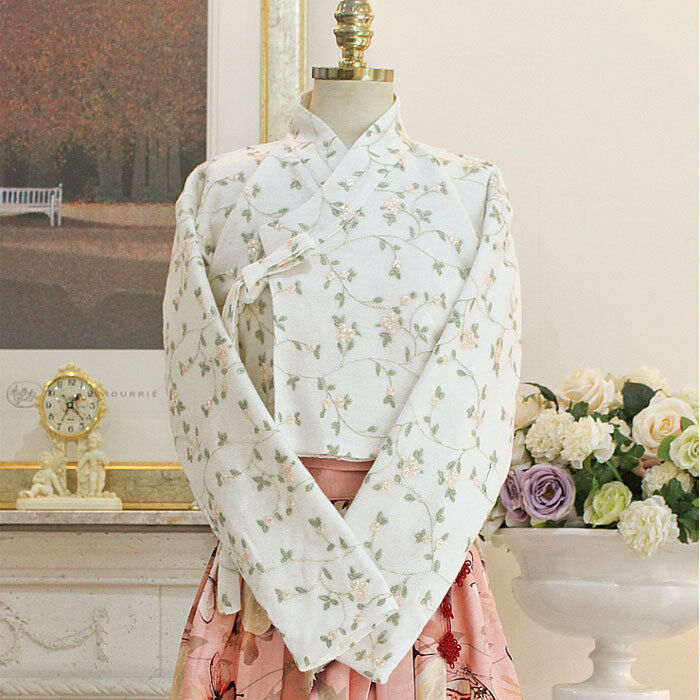 [Korea Costume Life Hanbok] Top Knitted Embroidery Ivory Flat Pattern Cotton