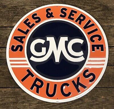 "GMC Sales /& Service Trucks Vintage 24/"" Circular Embossed Tin Metal Sign"
