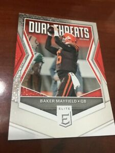 """BAKER MAYFIELD #'D /299 2019 PANINI ELITE DUAL THREATS PARALLEL SP BROWNS """"RARE"""""""
