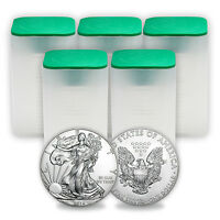 2016 1 oz Silver American Eagle Coins BU (Lot of 100, Five Tubes)