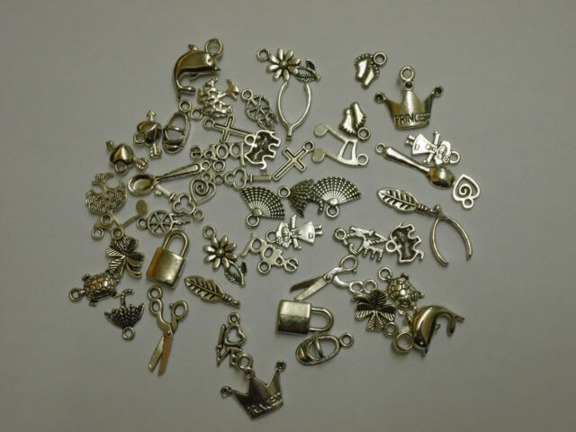 joblot 50 x mixed charms with free organza bag