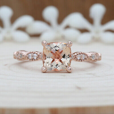 Cushion Peach Morganite Engagement Ring Solitaire Rose Gold